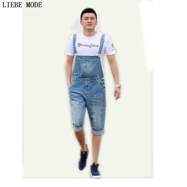 98c253385 Mens Moda Jardineiras Macacão Jeans Shorts Men Verão Na Altura Do Joelho Shorts  Jeans Masculinos Calça