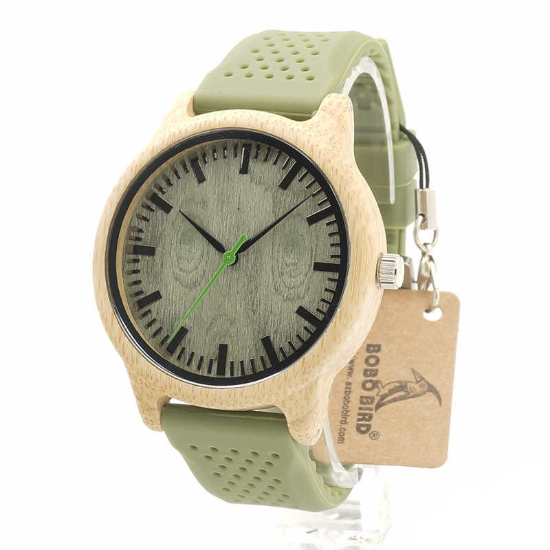 BOBO BIRD B06 Bamboo Wooden Wristwatch With Green Sandalwood And Silicone Strap For Men and Women As GiftBOBO BIRD B06 Bamboo Wooden Wristwatch With Green Sandalwood And Silicone Strap For Men and Women As Gift
