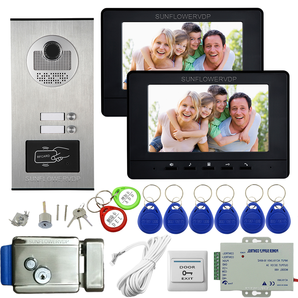 7Inch Color Monitor Black/White Video Intercom System Rfid Video Doorbell For 2 Apartments Video Intercom +Electronic Door Lock