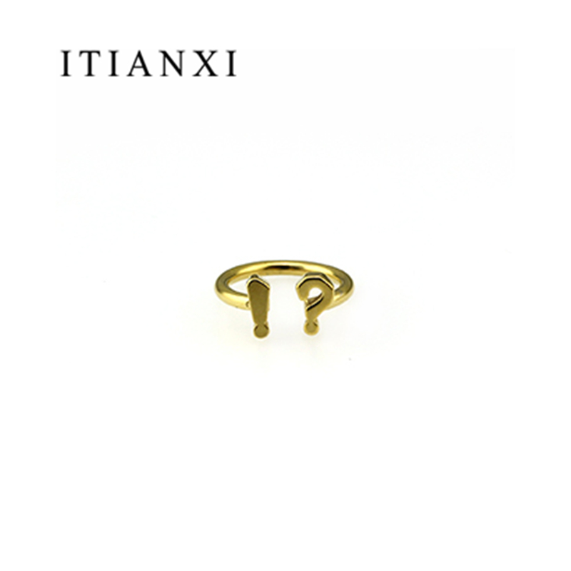 ITIANXI Funny Question Mark Point open Rings Adjustable Size For Men Women Couple Fashion Simple High Quality Jewelry