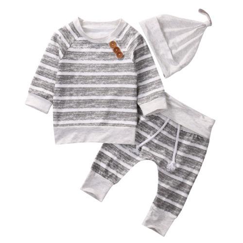 Одежда для малышей Наборы для ухода за кожей Осенняя одежда для маленьких мальчиков младенца в полоску Топы корректирующие футболка штаны-...
