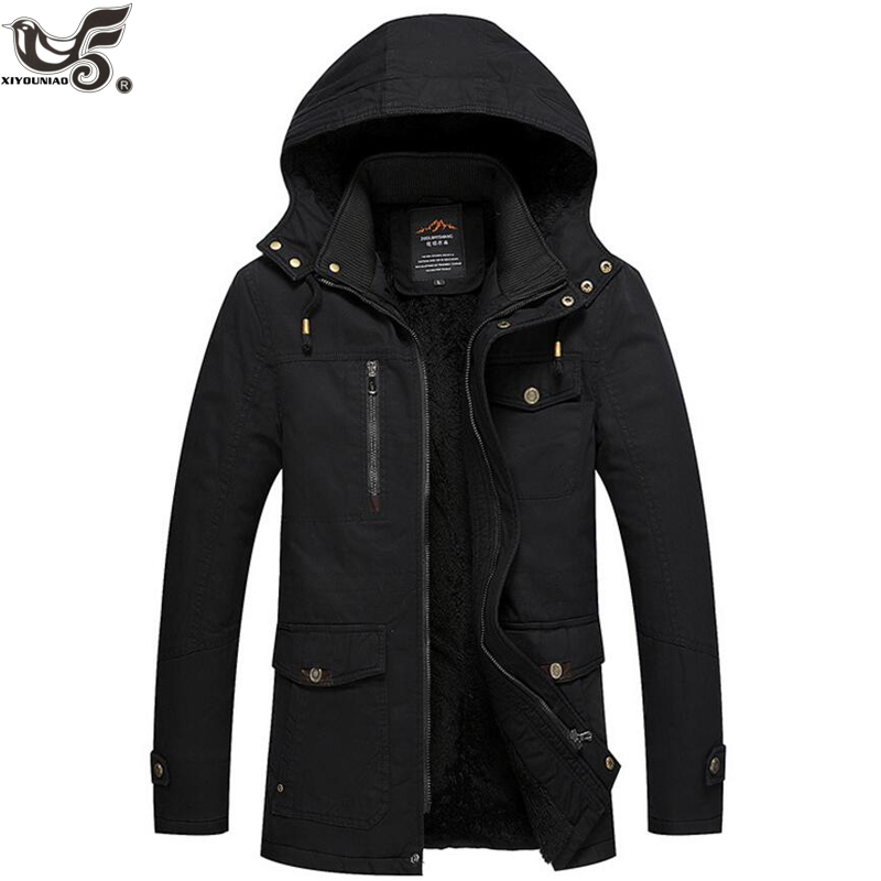 XIYOUNIAO new Men's Casual   Parkas   coat Washed cotton Winter Jacket Men Hooded Thick Warm Padded Overcoat Man Jaqueta Masculino