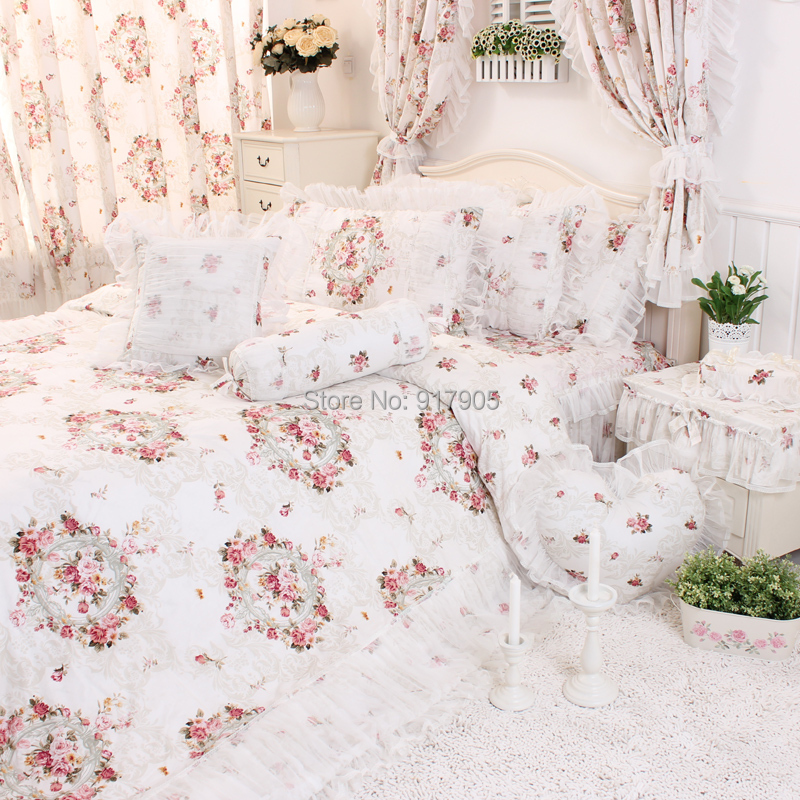 Chinese Peony Printing Ruffled Bedding Sets, Romantic Lace ...
