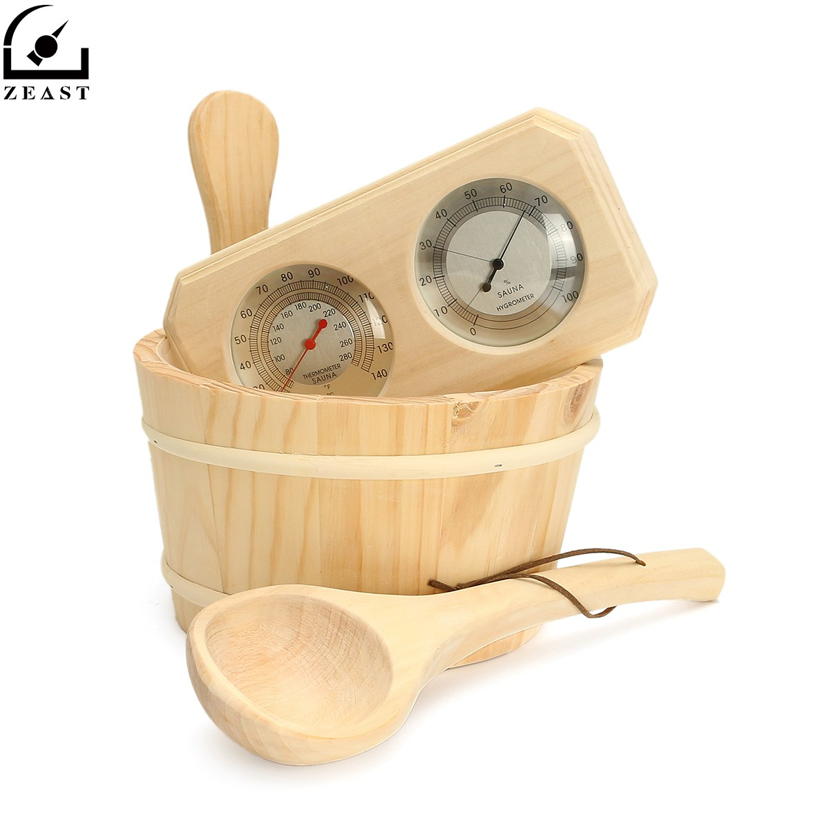 Thermometer Hygrometer + Dipper + Bucket 3pcs/set Pine Wood Sauna Accessory Set 20-140C free shipping high quality sauna accessory cartoon design sauna equipment thermometer hygrometer