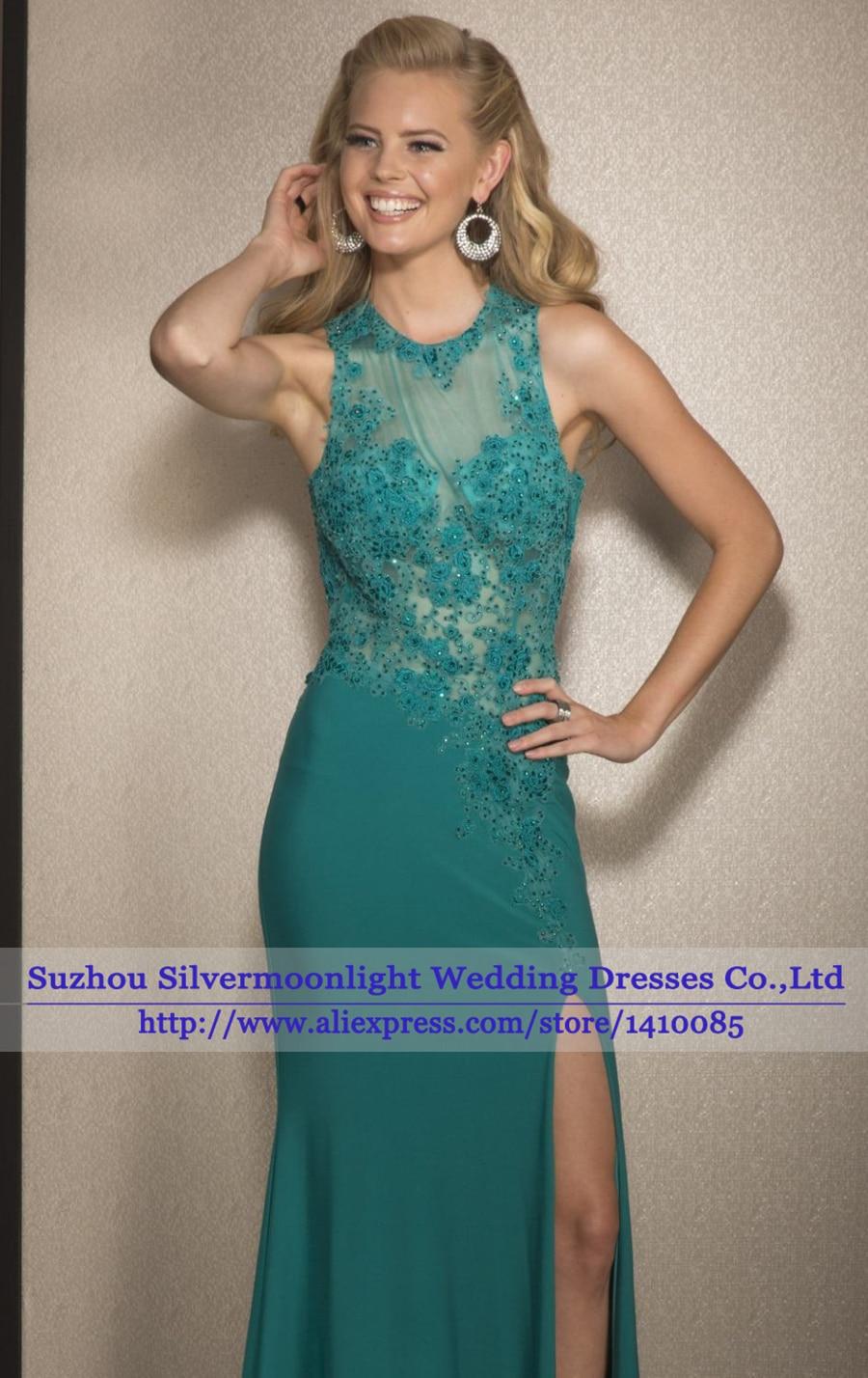 vestido de festa Green Evening Dress See Through Corset Lace Beaded ...