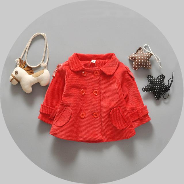 2016 primavera otoño nuevas niñas bebé ropa de abrigo chaqueta de pana bebé ropa de la muchacha linda turn down collar niños rojo niño niñas escudo