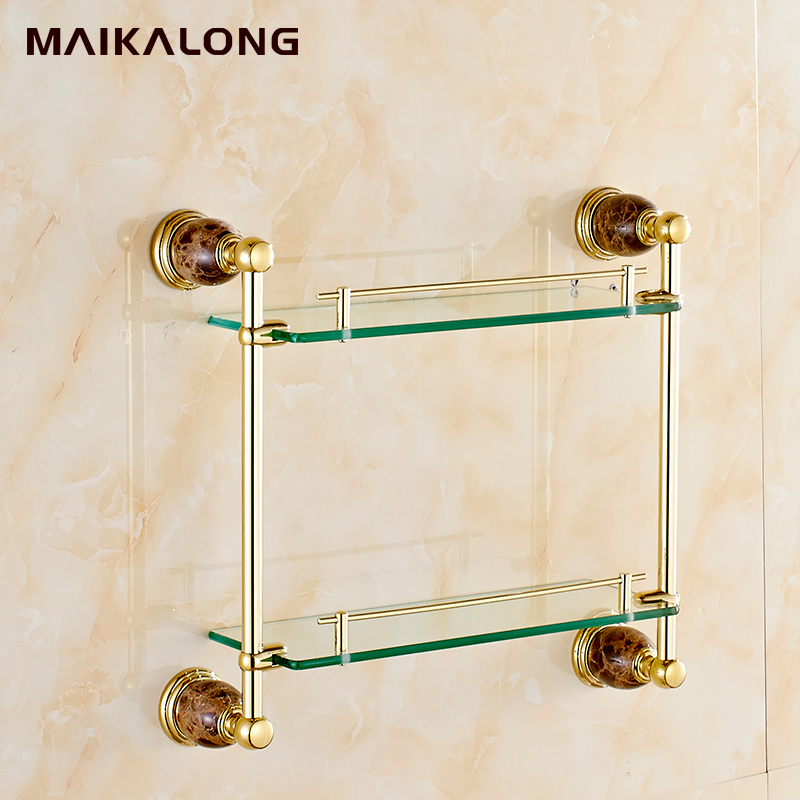 Marble U0026 Brass Bathroom Shelf ,double Shelf Pure Copperu0026glass,Jade Bathroom  Hardware Accessories In Bathroom Shelves From Home Improvement On  Aliexpress.com ...