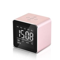 Cube Mini Digital Alarm Clocks LED Wireless Bluetooth Speaker Alarm Clock Portable Makeup Mirror Table Clock Home Decor Gift