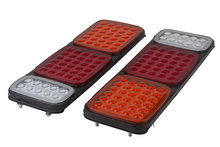 1Pair 70LED Car Rear Tail Lights Red Yellow White Stop Turn Signal Reverse Lamp for 24V Truck Trailer Caravan Van Lorry