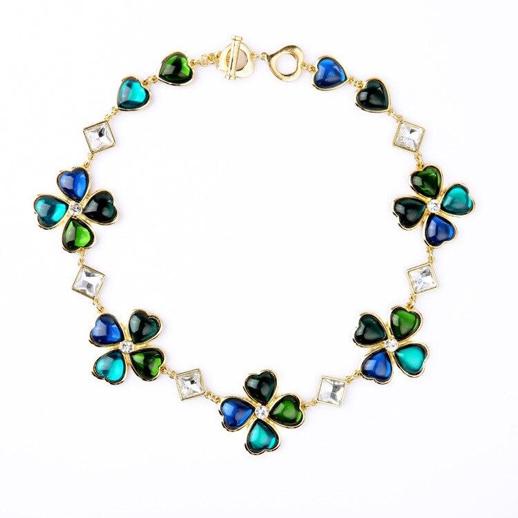 8a9f22a99e17 Niñas Moda Vintage Verde y Azul Trébol de Oro En Tonos Collar de Grandes  Joyas de Marca Ys L Inspirado Diseñador Regalos para ella en Gargantilla  Collares ...