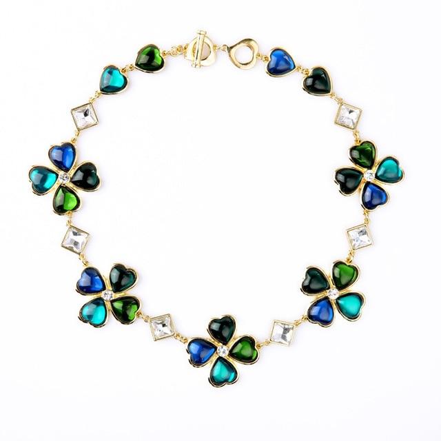 4ab582d9db1d Niñas Moda Vintage Verde y Azul Trébol de Oro En Tonos Collar de Grandes  Joyas de
