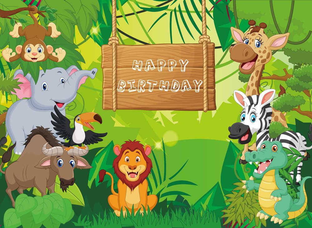 Джунгли сафари тематические животных день рождения баннер Фотофон, ребенок дети портрет вечерние фон baby shower W-656