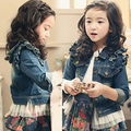 NOVA primavera outono roupas crianças 3-12Y plissado denim outerwear crianças o-pescoço top roupas das meninas do bebê rendas denim Casacos & Coats
