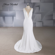 Rosabridal Mermaid Wedding Dress 2019 new brief and fashion design Satin deep O Neck sleeveless Open Back Trumpet Bridal Gown