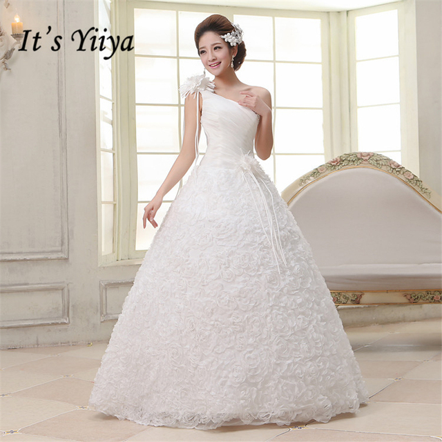 2017 New Plus size Rose One Shoulder Wedding Dresses Cheap Red White ...