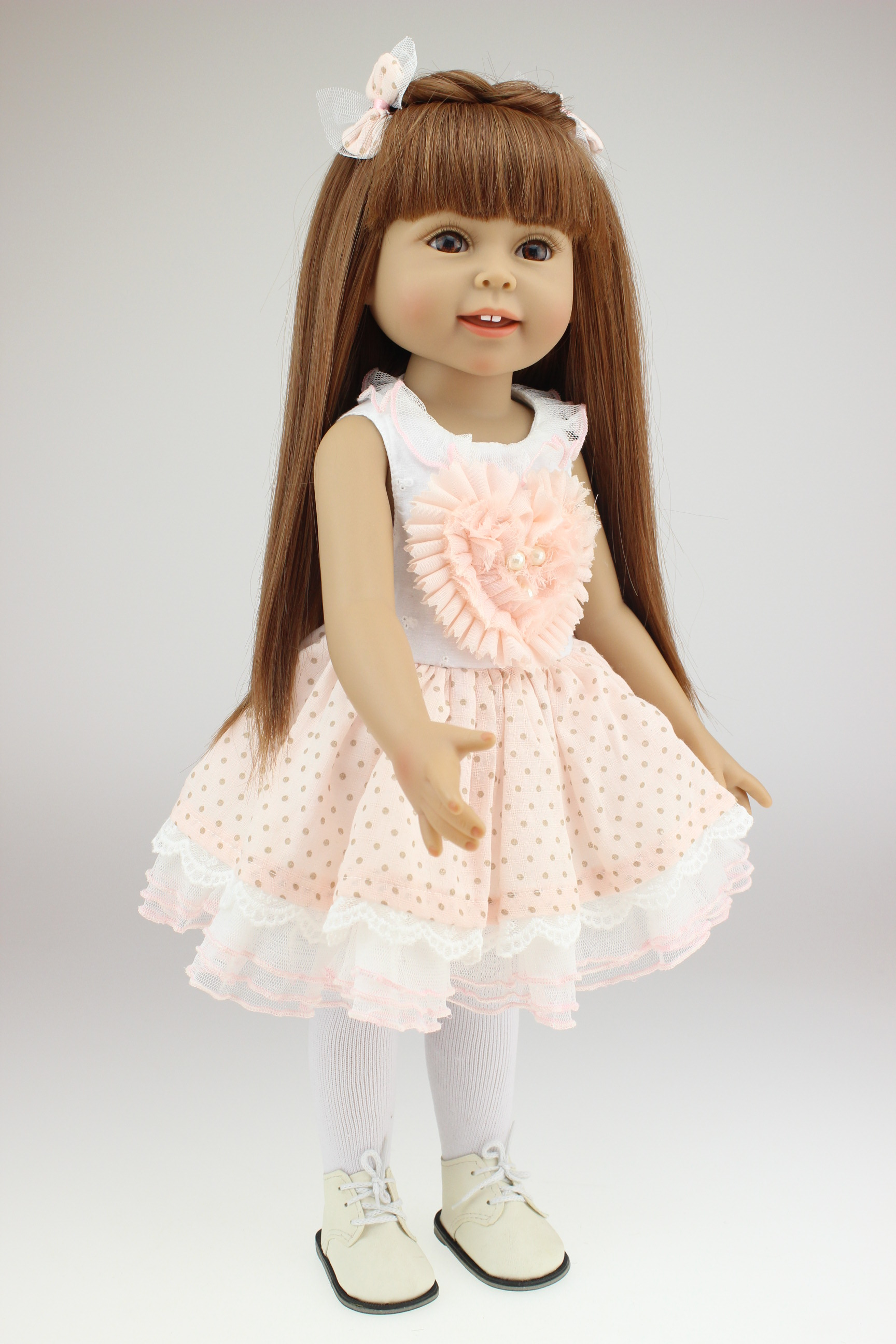 45CM AMERICAN GIRL Brown Long Hair Pink Cute Dress Reborn Handmade Baby Dolls Full Newborn Baby Doll Toys Girls Toys cnc adjustable motorcycle billet foldable pivot extendable clutch page 6