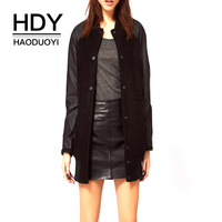 HDY Haoduoyi New Basic Autumn Coat Women Stitching Single breasted Double Pocket for Lady Coat Size Elegant
