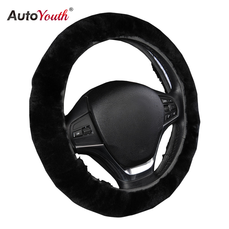 AUTOYOUTH Premium Pure Sheepskin Wool Steering Wheel Cover Black Car Covers Winter Warm