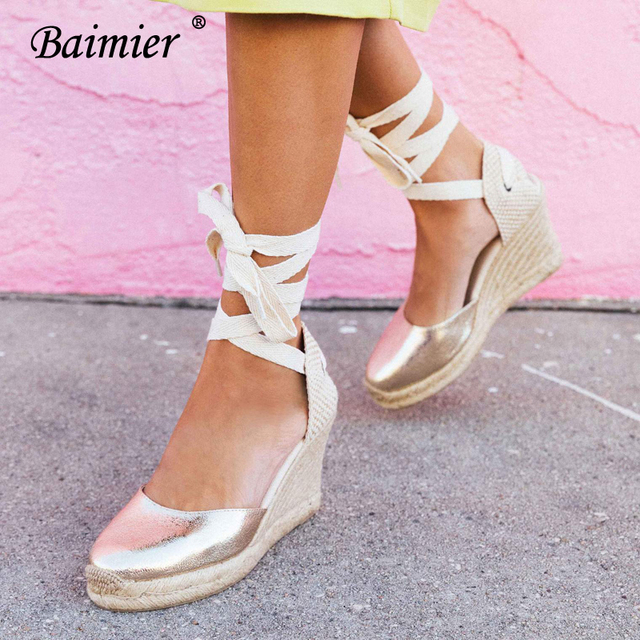 7803e4ad77f6 Baimier Gold Bling Women Platform Sandals Ankle Strap Wedge Espadrilles Women  Lace Up Gladiator Sandals Summer Beach Shoes Woman