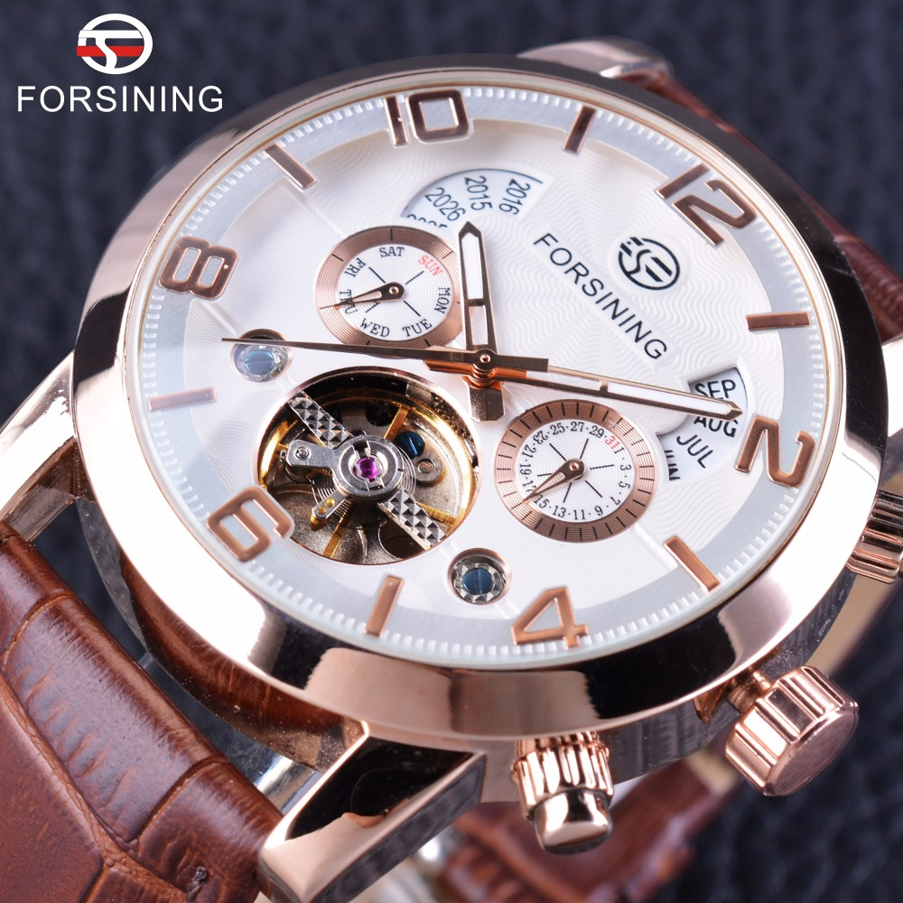 Forsining Brown Genuine Belt Tourbillion Luxury Rose Golden Case Men Business Automatic Watch Top Brand Luxury