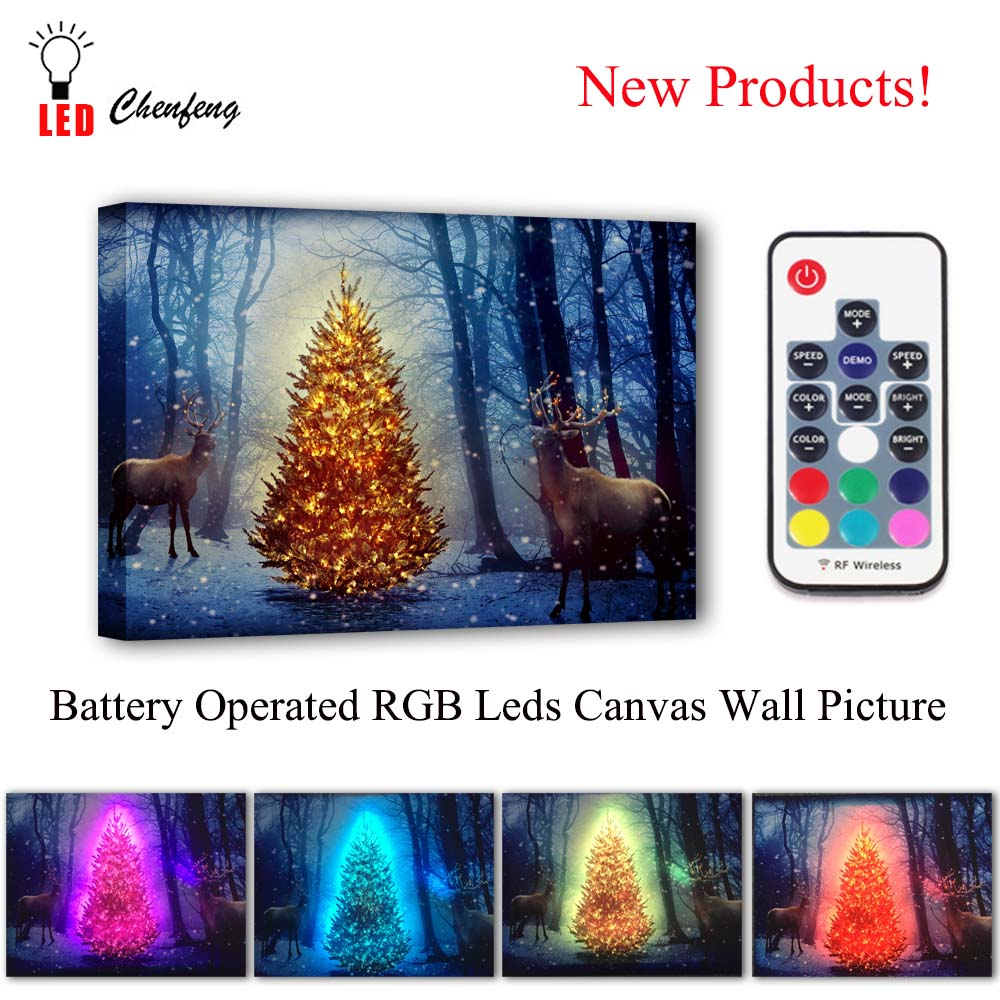 RGB Led Canvas Wall Decorative christmas tree with deers Picture Canvas Print Illuminate painting light up gift living room deco