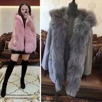 Women Winter Big Natural Fox Fur Collar Hoody Vest Real Sheep Wool Outwear 3 Wear Jacket