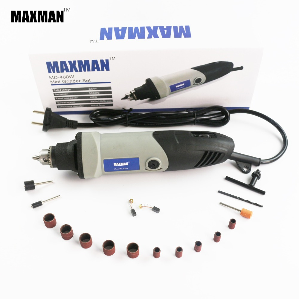 MAXMAN Electric 400W Mini Taladro Dremel Die Grinder 0,6 ~ 6,5 mm Chuck Variable Speed ​​Rotary Tool Multi Power Tools ccessories