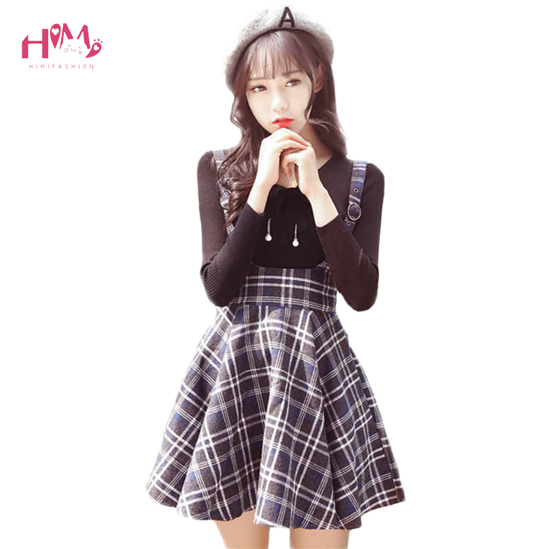 Korean New Fashion Plaid Suspender Skirt Autumn Japanese Vintage Wool Slim Pleated Skirts College Sweet Strap Mini Skirts