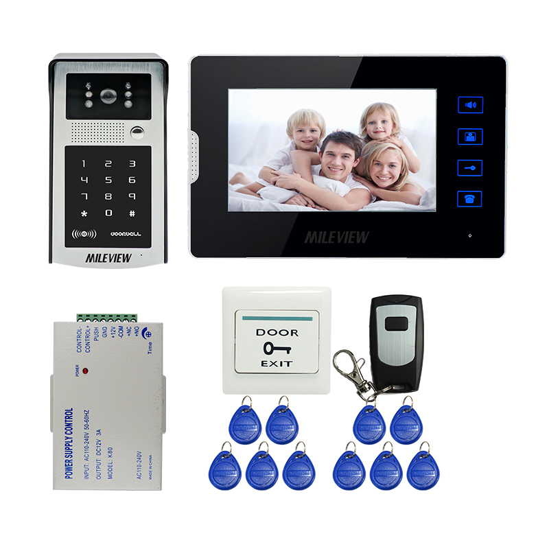 MILEVIEW 7 Touch Button Screen Video Door Phone Doorbell Intercom System RFID Code Keypad Number Camera In Stock Free Shipping free shipping 7 screen video door phone intercom system fingerprint code keypad unlock door camera electric mechanical lock