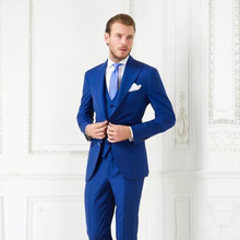 Royal Blue Men Suits 2017 Three Piece Peaked Lapel Two Button Custom Made Groom Wedding Tuxedos New (Jacket + Pants +Vest)