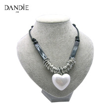 Dandie New Design Popular Handmade Necklace With Resin White Heart Bead , Female Fashion Costume Jewelry
