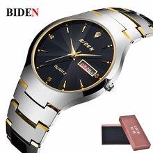Negocio de los hombres Relojes de Primeras Marcas de Lujo de Cuarzo Reloj de Moda de Acero de Tungsteno Resistente Al Agua Reloj de Pulsera de Regalo relogio masculino