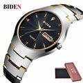 Relógios Top Marca de Luxo Relógio de Quartzo dos homens de negócios de Moda de Tungstênio de Aço À Prova D' Água Relógio de Presente Relógios de Pulso relogio masculino