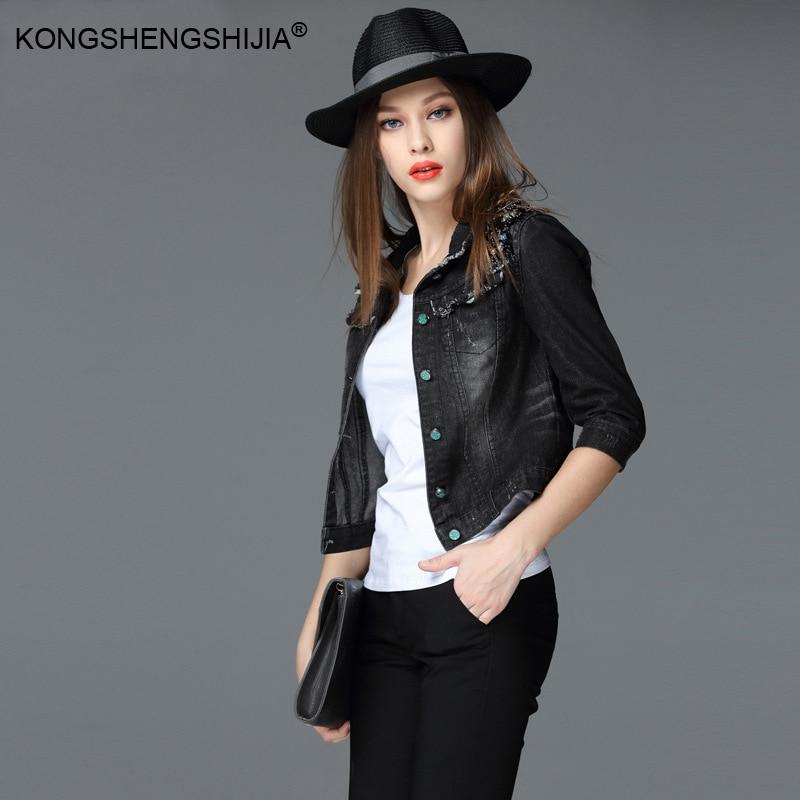 Veste en Denim noir 3/4 manches simple boutonnage sans chapeau court haut court col rabattu femmes printemps Jeans vestes 66204