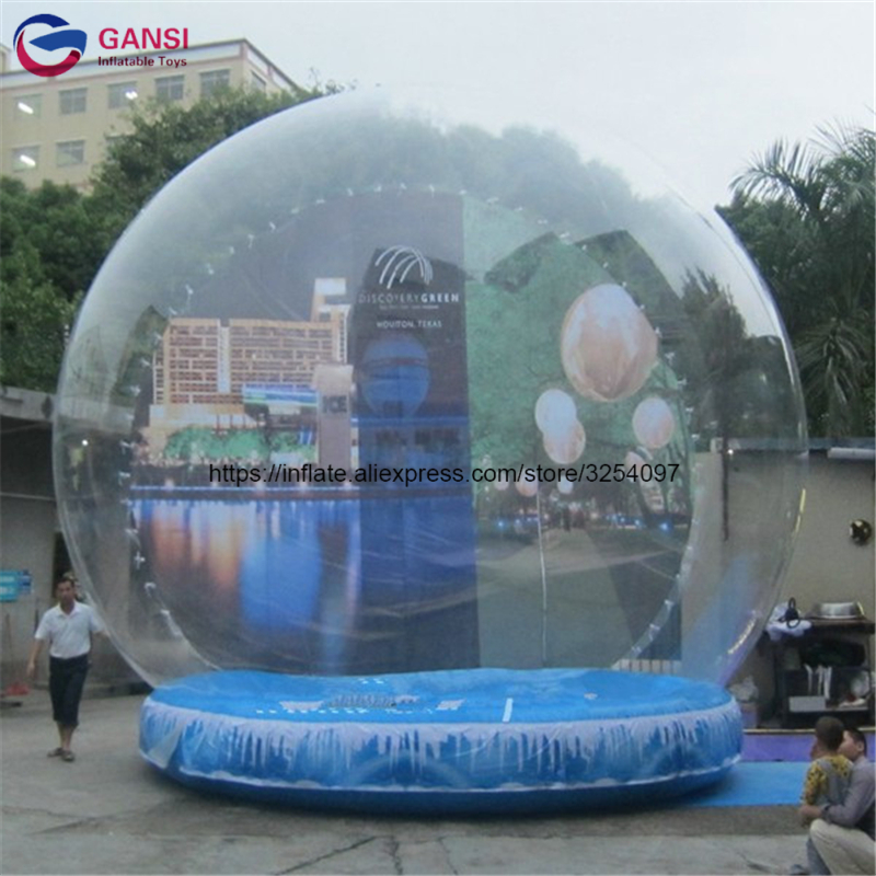Christmas outdoor decoration human snow globe xmas inflatable snow globe with customized backdrop