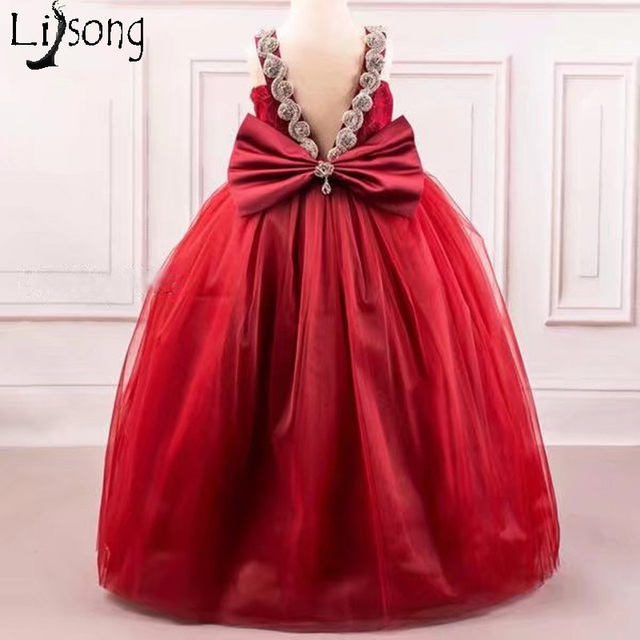 8175c3edc Burgundy Flower Girls Wedding Party Dresses Long Ball Gown Lovely ...