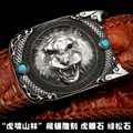 Handmade high quality for Crocodile strap quality male apotropaic belt steller's belt tibetan silver sculpture