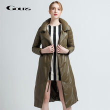 Gours Genuine Leather Duck Down Coats for Women Black Sheepskin Jackets Overcoats Warm In Winter Long Parka New Arrival 1782