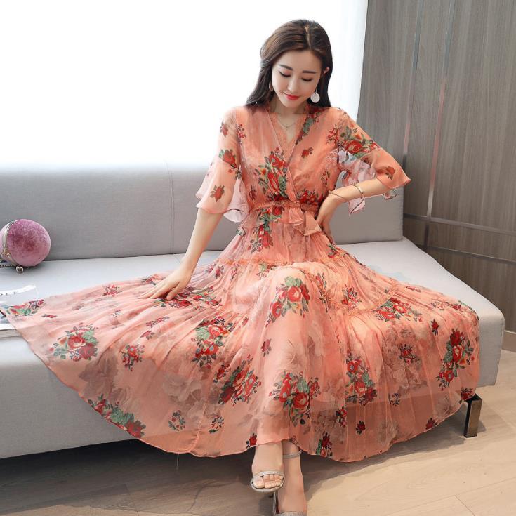 Fashion Elegant Pink Floral Midi Dress Lace V-neck Half Sleeve Chiffon Women Summer Ladies Dress Sundress Vestidos Ropa Mujer 27