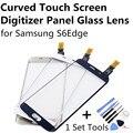 Золото Белый Темно-Синий Изогнутые Сенсорного Экрана Digitizer Панель Стеклянный Объектив для Samsung S6 Edge S6Edge Deep Blue + 1 Компл. Инструменты FreeShipping