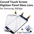 Gold White DarkBlue Curved Touch Screen Digitizer Panel Glass Lens for Samsung S6 Edge S6Edge Deep Blue +1Set Tools FreeShipping