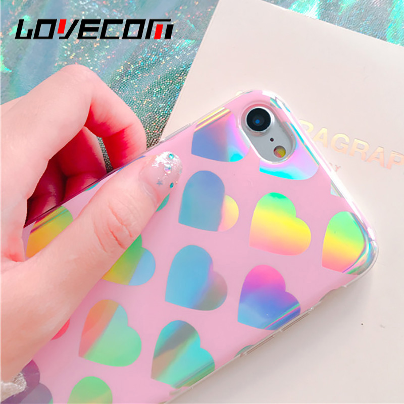 LOVECOM Cute Love Heart Laser Rainbow Phone Case For iPhone 6 6S 7 8 Plus X Soft TPU Frame With Hard PC Back Cove Coque