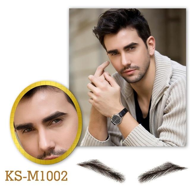 Neitsi Mans One Pair Fake Eyebrows 100% Human Hair Fake Eyebrows Lace Base M1002