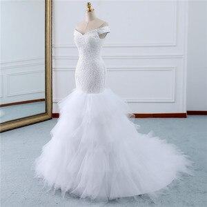 Image 2 - Fansmile Chiếu Trúc Hạt Vintage Phối Ren Váy Nàng Tiên Cá Váy Cưới Plus Kích Thước 2020 Dài Xe Lửa Đặc Chế Cưới Cô Dâu Thổ Nhĩ Kỳ FSM 431M