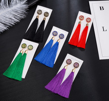 HOCOLE 2018 New Women Crystal Tassel Earrings Long Boho Bohemian Rose Flower Drop Dangle Tassel Earrings For Women Jewelry