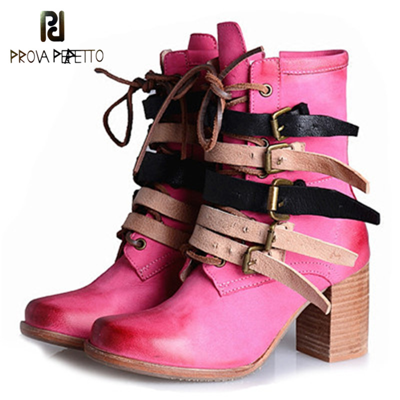 Prova Perfetto Autumn Winter New British Style Cow Leather High Heels Women Short Boots Fashion Pink