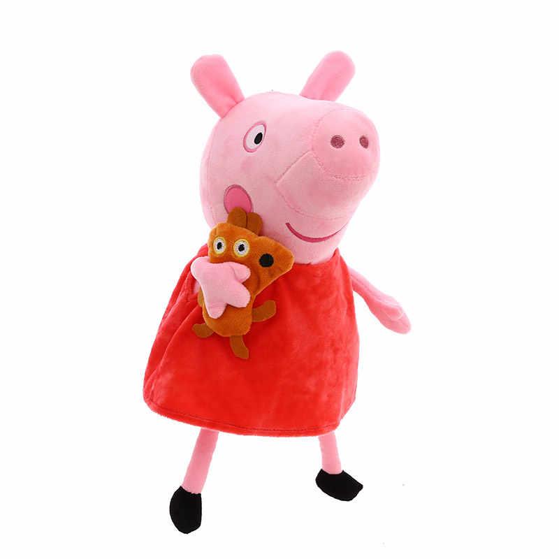 25 cm original peppa pig família george pai mãe pelucia pelúcia boneca brinquedos para crianças presentes