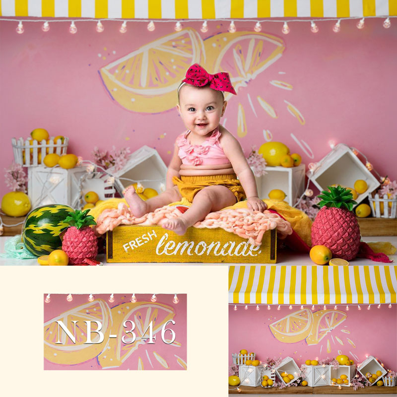 Lemon Yellow Stripes Newborn Backdrop for Photography Baby Shower Birthday Party Photo Background for Children Backdrops Studio