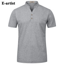E-artist Men's Slim Fit Casual Stand Short Sleeve T-Shirts Male Summer Double Mercerized Cotton Tees Tops Plus Size 5XL T16