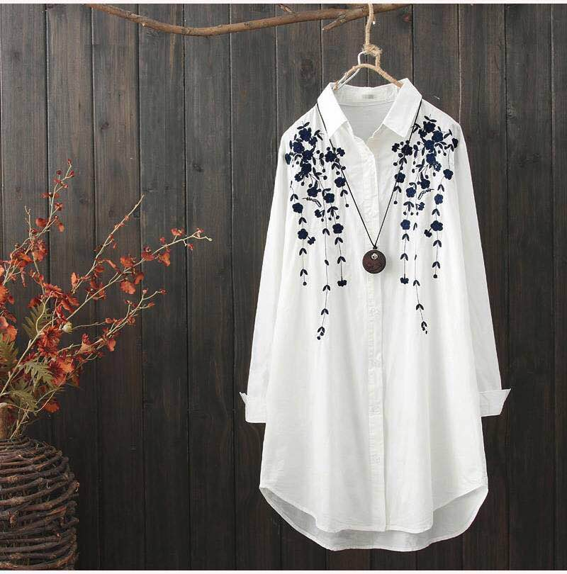 Plus Size Cotton Embroidery Women Loose Long White Shirts 2020 Spring Autumn NEW Casual Ladies Blouse Female Tops Oversize